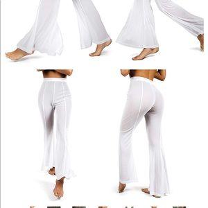 5c7e790cb3 sofsy Swim | Sheer White Mesh Flared Pant Coverup | Poshmark